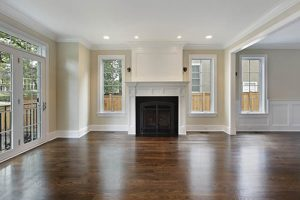 white home with dark hardwood flooring